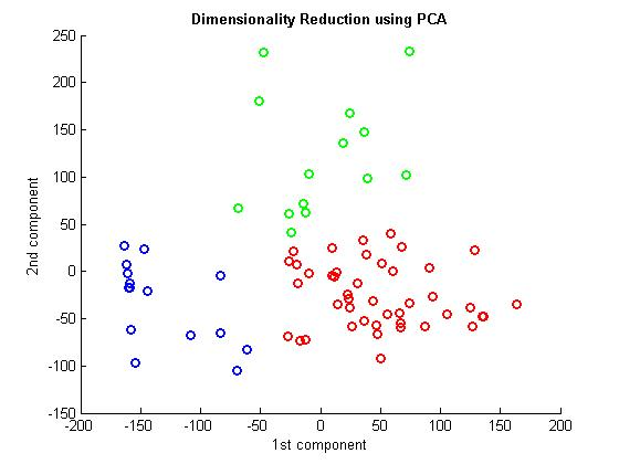 Clustering in a 2D space computed by the PCA