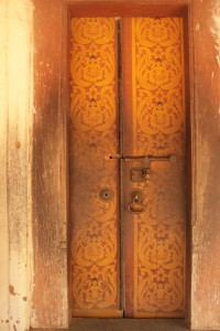 Temple doors at Embekke Devalaya