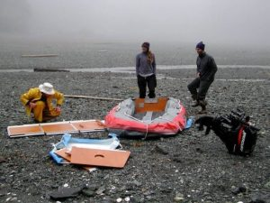three geologists working in the field