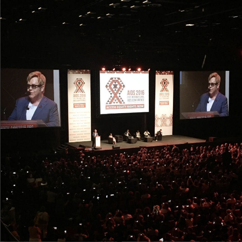 Sir Elton John speaking at the AIDS2016 conference.