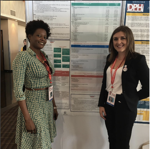 Kara and her co-investigator presenting their work at the AIDS2016 conference in Durban, South Africa.