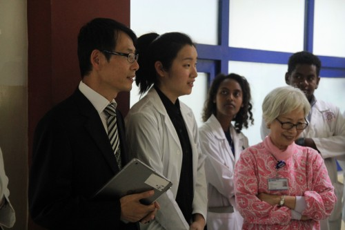 Picture 6: Interventional angiography inauguration ceremony. Opening address by Reverend Kim (far left). I served as Korean to English translator (second from the left).