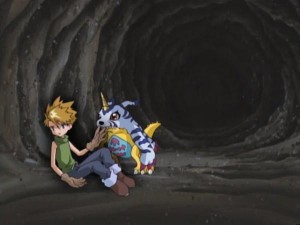 Matt and Gabumon stuck in a cave made by Matt's negative thoughts. (From Digimon: Digital Monsters, S01E52) I wish I had a Digimon, too in times like these!""