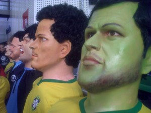 Carnivalesque football players at the public viewing before Brazil-Colombia. From the right: Hulk, Fred, Suarez the vampire, Ronaldo the Globo reporter, and David Luiz.