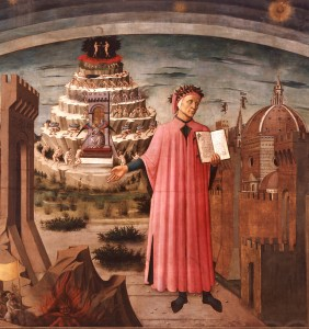 The picture of Dante holding the Commedia in his left hand is a reproduction of Domenico di Michelino's painting, Florence, 1465.