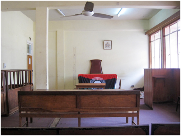 The court room at the Magistrate Court in Zomba, Malawi.