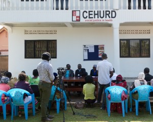 CEHURD's press conference venue, a.k.a. the courtyard of our office.