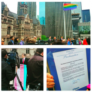 Toronto City Hall proclamation of the international day against homophobia transphobia and biphobia.