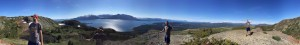 Panorama view from the top of Monarch Mountain, above Atlin lake