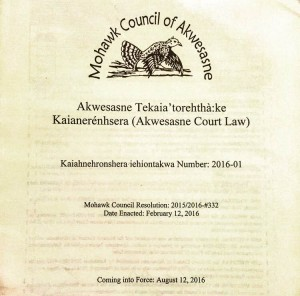 The cover page of the Akwesasne Court Law. This is a picture of the crumpled paper copy I carried around with me all summer. A full (less crumpled) version is available on the Akwesasne Law Registry (link at the bottom of the blog post).