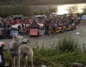 "Watching the Dawson City League of Lady Wrestlers ""North End Knockout"" by the Yukon River. It was still sunny at 11:30 PM!"