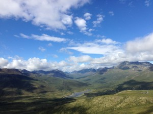 View of the North Klondike river running through Tombstone Territorial Park on the Dempster Highway north of Dawson City