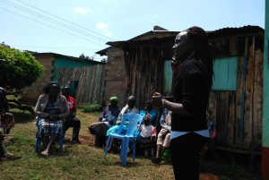 My colleague Ann, social worker at Ripples International, introducing Ripples International to a women's support group.