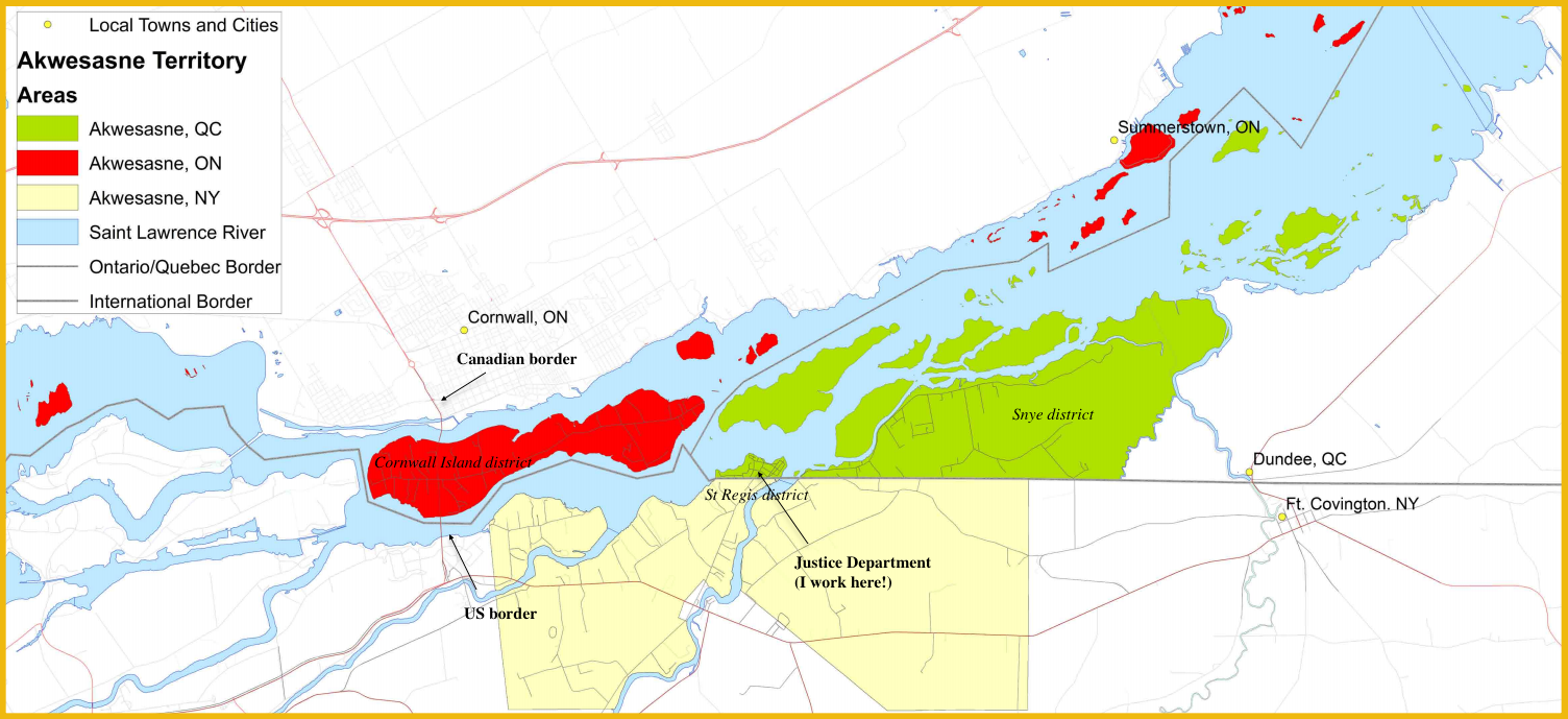 Map Of Canada New York Border.An Arbitrary Border In The Middle Of Akwesasne Mcgill Human Rights