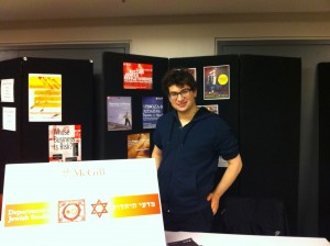 Our table at the McGill Open House, Oct. 28, 2012. Pictured: Mikey Schwartz, JSSA President.