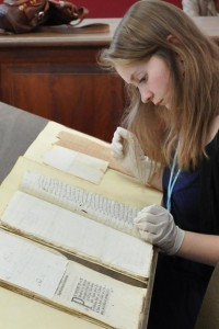 Carolyn working with a Colonial Zapotec text in Oaxaca