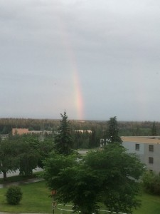 rainbow from UAF campus, taken at midnight